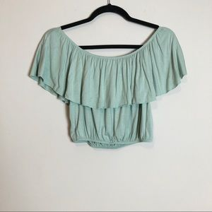 F21 Blue Off the Shoulder Crop